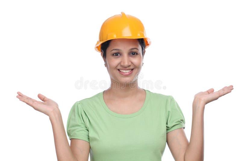 激动的年轻建筑工程师 免版税库存照片