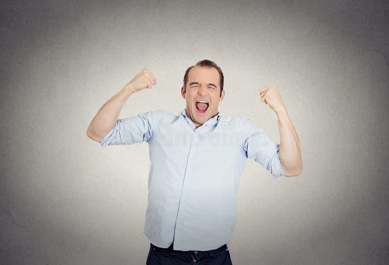 激动,精力充沛,愉快,叫喊的学生,商人赢取 免版税库存图片