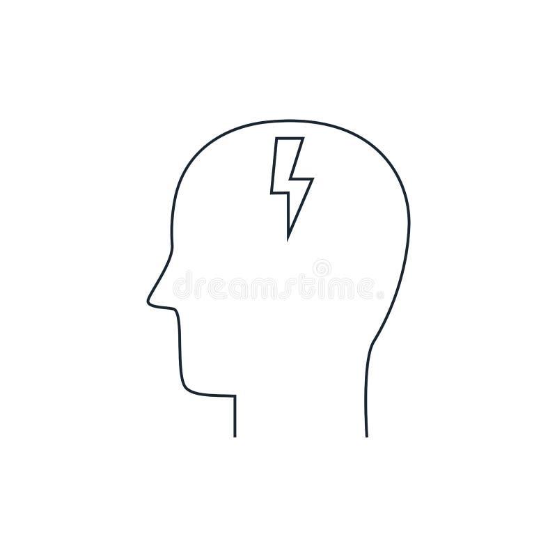 激发灵感,稀薄的线型,平的设计顶头象  库存例证