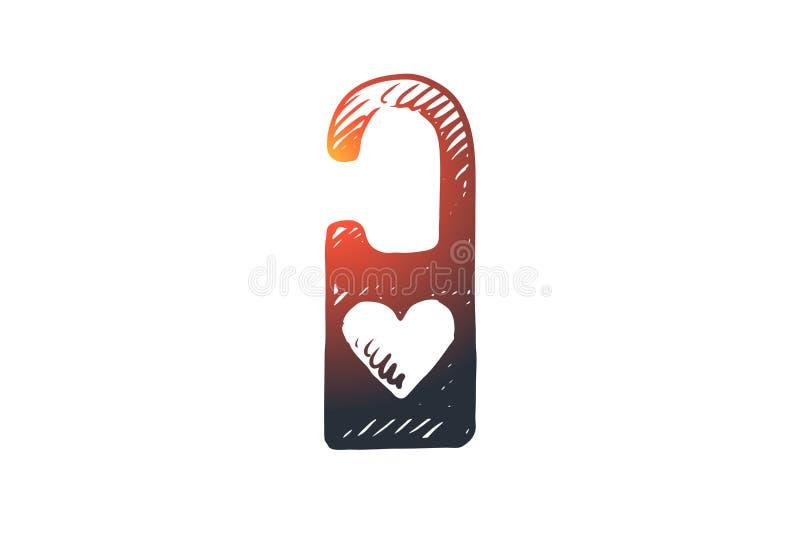 激情,挂锁,爱,浪漫,心脏概念 手拉的被隔绝的传染媒介 向量例证