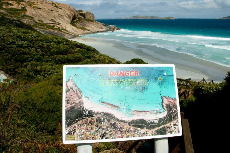 激流海滩标志 免版税库存照片