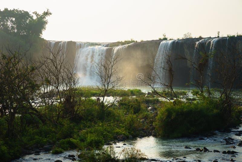 瀑布与干燥树的早晨在前景 免版税库存照片