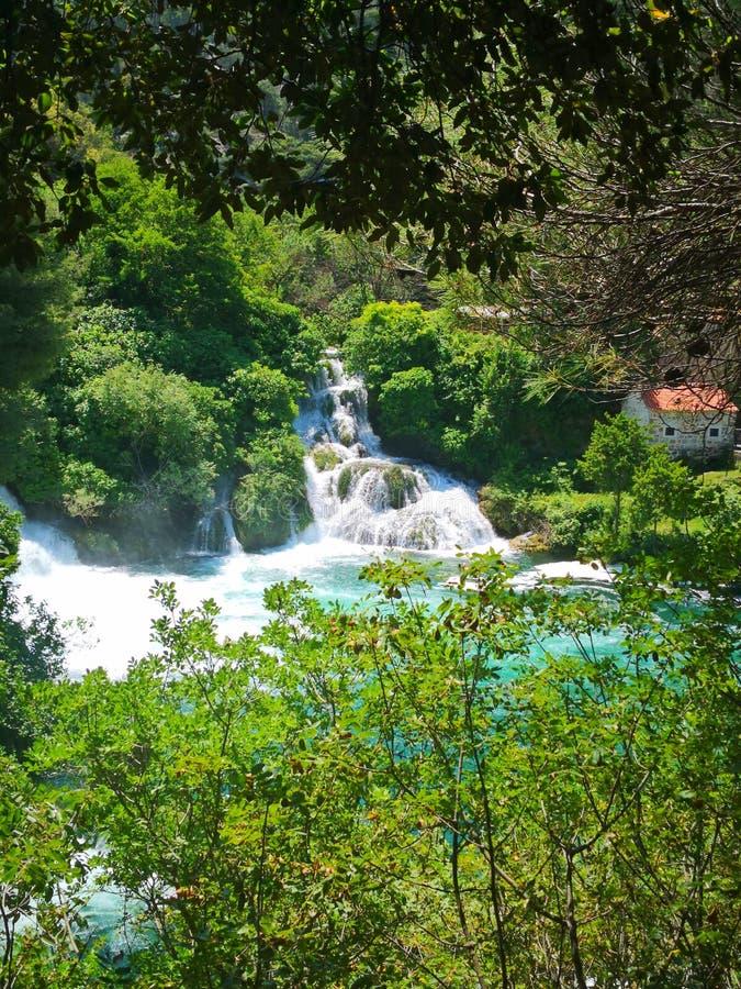瀑布克尔卡河,国立公园,达尔马提亚,克罗地亚 库存照片