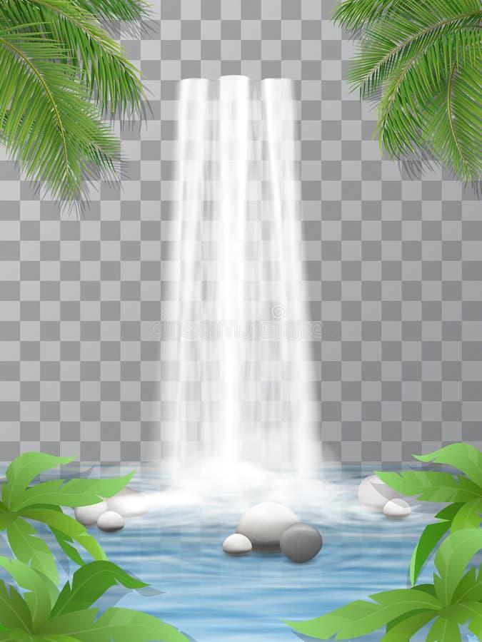 瀑布向密林扔石头 库存例证