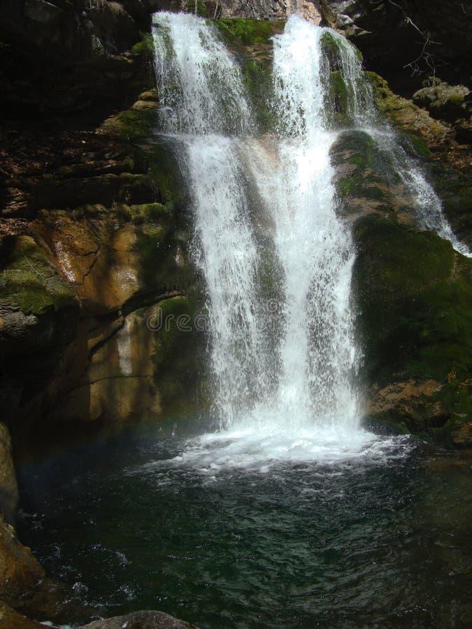 瀑布和彩虹 库存图片