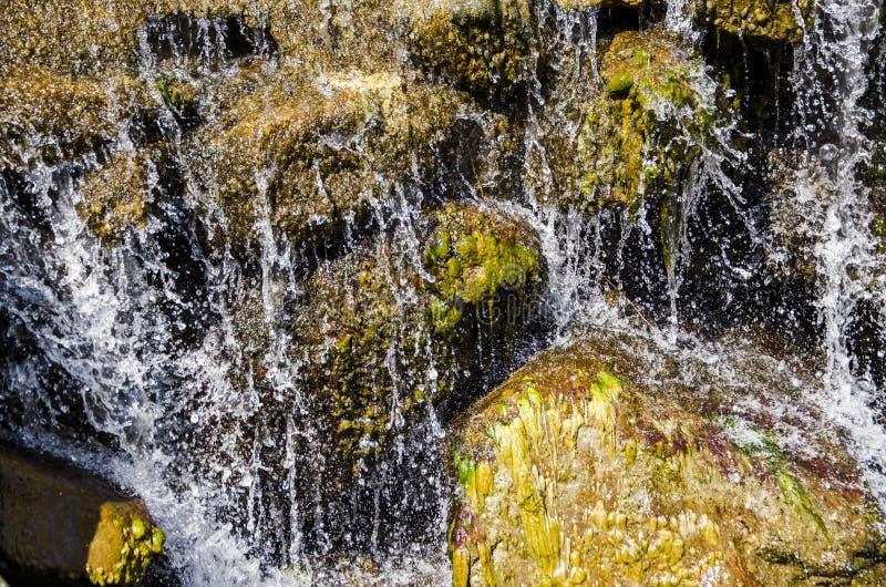 瀑布和春天在贺兰山 库存图片