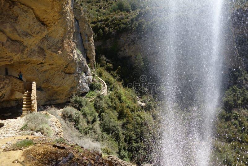 瀑布和道路用远足道路的圣诞老人Orosia方式 库存图片