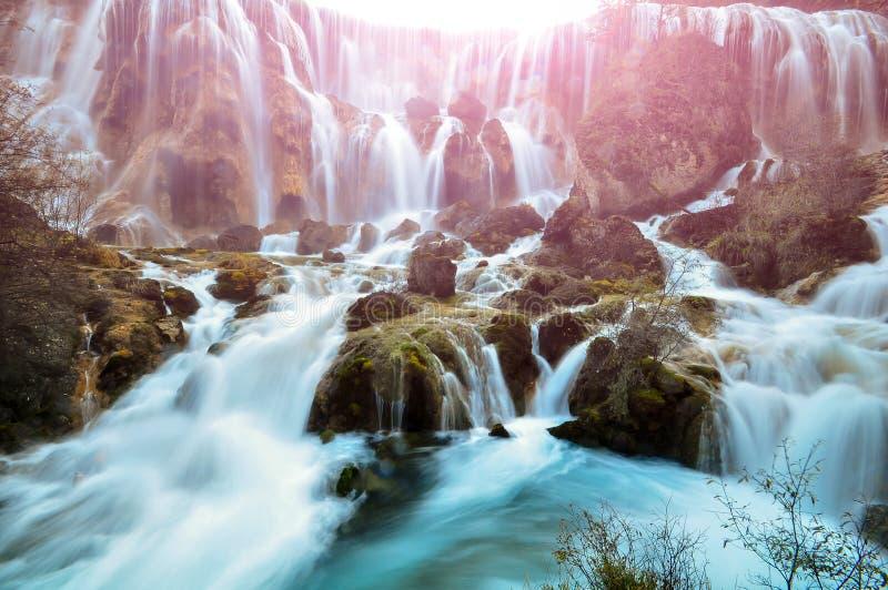 瀑布在九寨沟国家公园,中国 免版税图库摄影