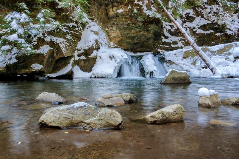 瀑布在冬天 山河和雪在山坡 免版税库存照片