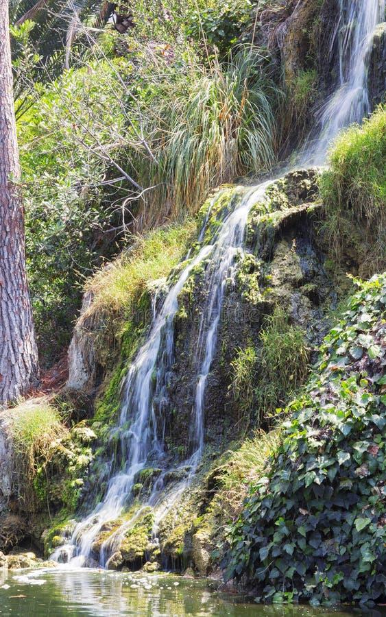 瀑布在凝思庭院里在圣塔蒙尼卡,美国 免版税库存图片