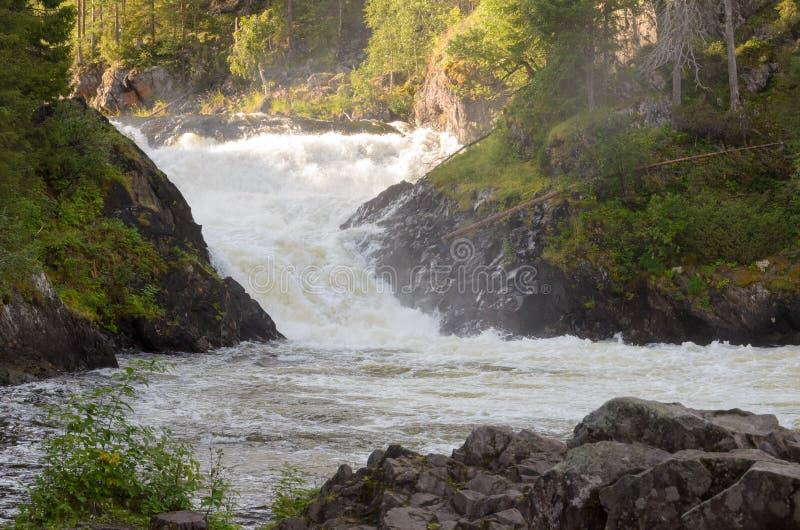 瀑布在北芬兰 库存照片