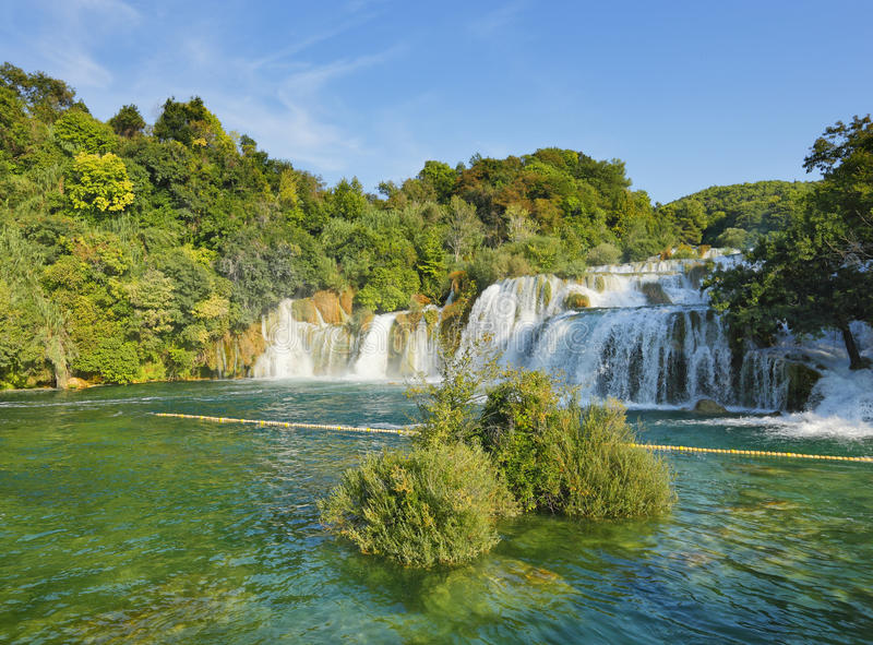 瀑布在国家公园Krka 库存图片
