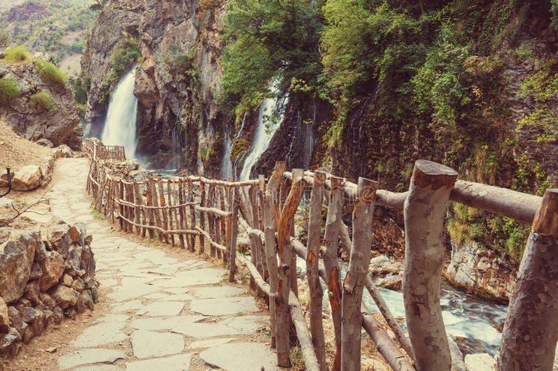 瀑布在土耳其 免版税库存照片