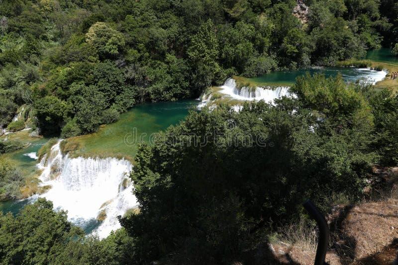 瀑布在山湖在克罗地亚的国立公园 免版税库存图片