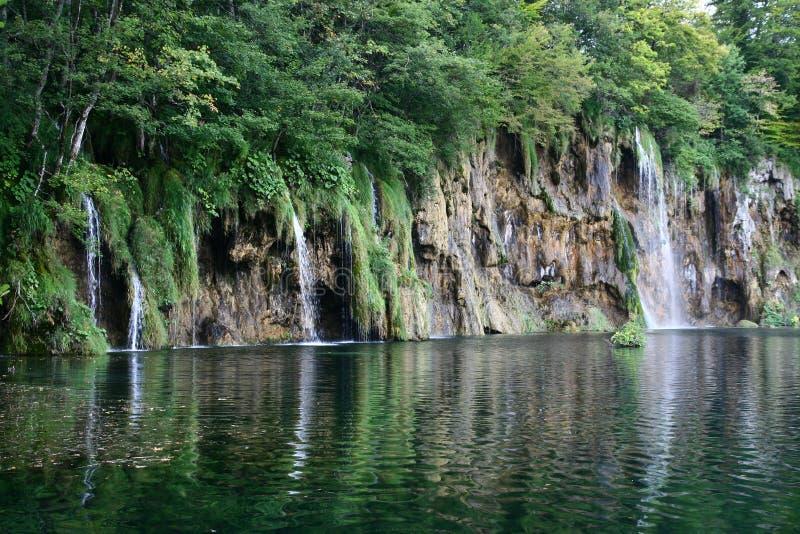 瀑布在普利特维采湖群国家公园 库存照片