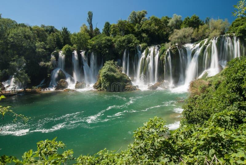 瀑布在波斯尼亚黑塞哥维那 图库摄影