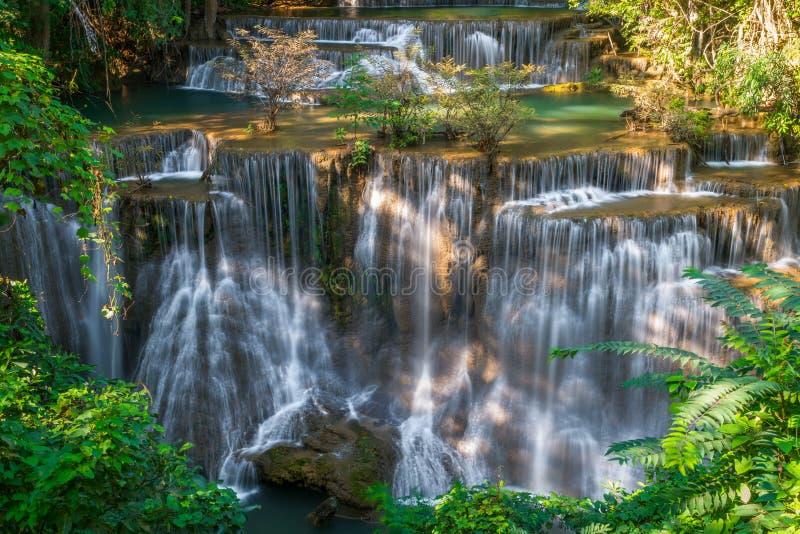 瀑布在泰国,称Huay或槐mae khamin在Kanchan 免版税库存照片