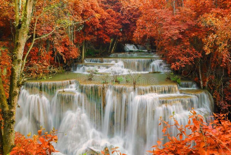 瀑布在深雨林密林(Huay Mae Kamin瀑布) 库存图片