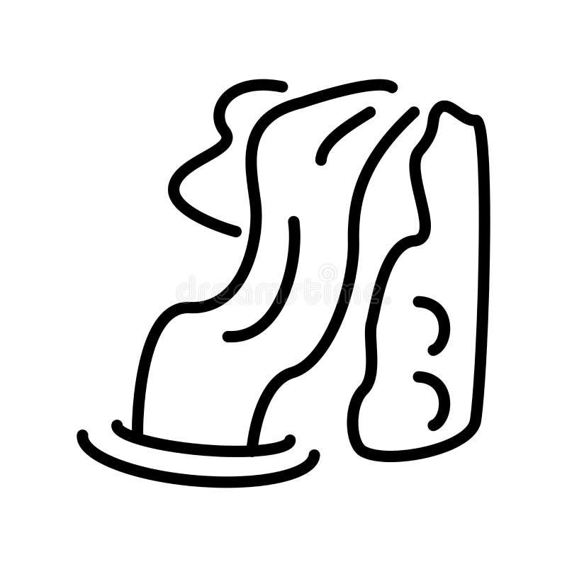 瀑布在白色背景隔绝的象传染媒介,瀑布si 库存例证
