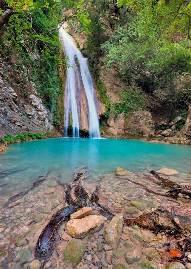 瀑布在Neda河Messinia,希腊 库存照片