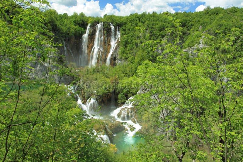 瀑布在Plitvice湖公园 图库摄影