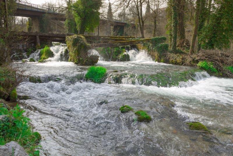 瀑布在Rastoke村庄  库存照片
