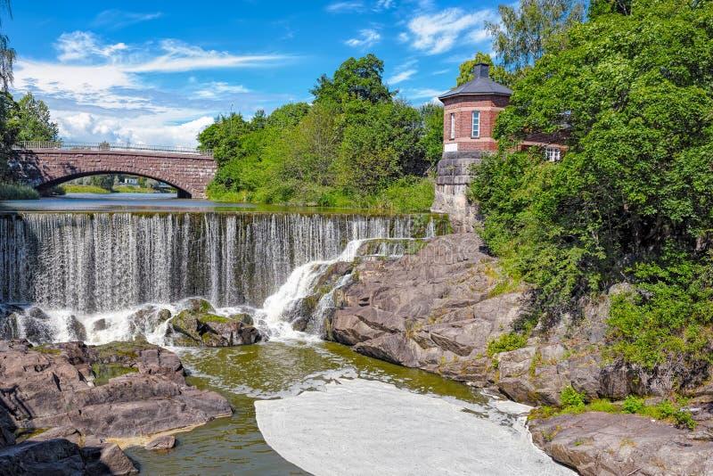 瀑布在Vanhankaupunginkoski,赫尔辛基 免版税库存照片