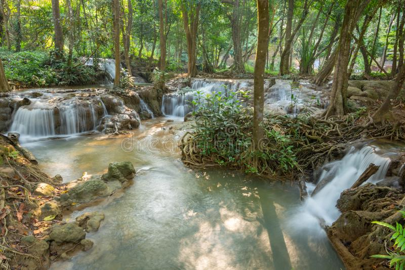 瀑布场面在北碧,泰国的Kroeng Krawia瀑布 免版税库存图片
