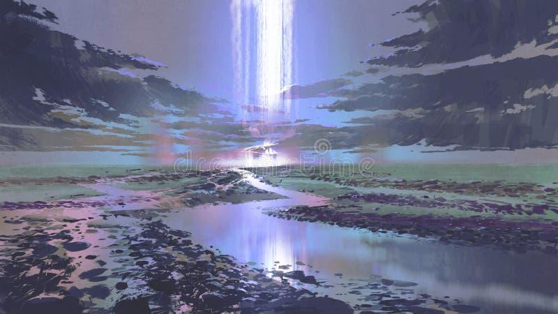 瀑布夜风景在天空的 向量例证
