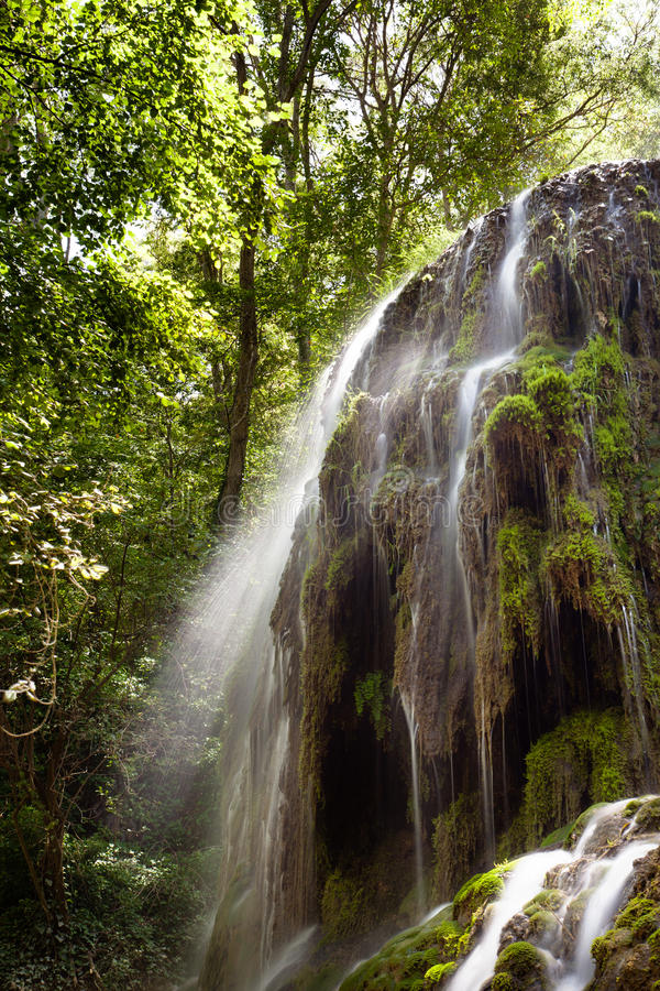 瀑布特立尼达在Monasterio de Piedra 库存图片
