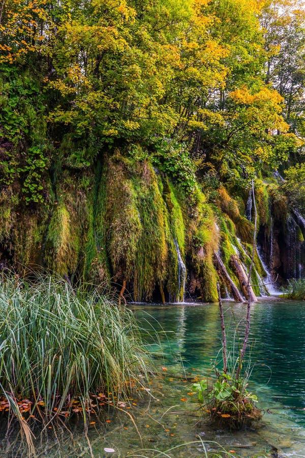 瀑布落入天蓝色的水 库存图片