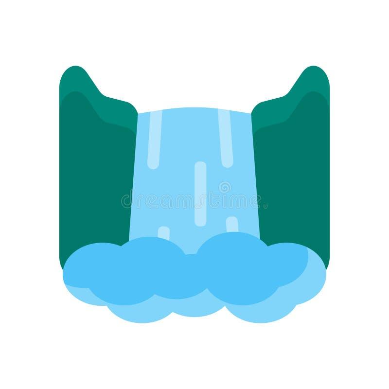 瀑布象在白色backgrou和标志隔绝的传染媒介标志 皇族释放例证