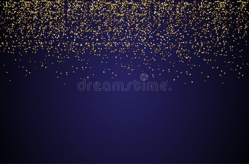 瀑布金黄闪烁闪闪发光泡影香槟微粒星黑背景新年快乐假日概念 皇族释放例证