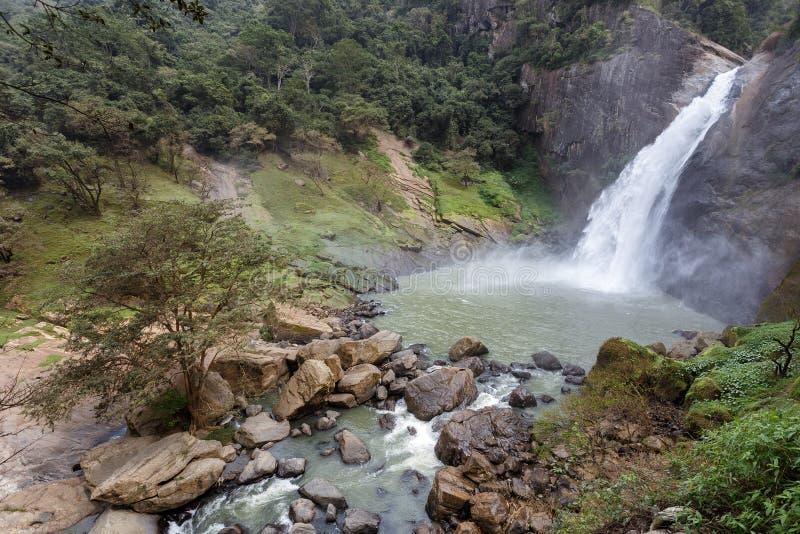 瀑布风景在斯里兰卡 免版税库存照片
