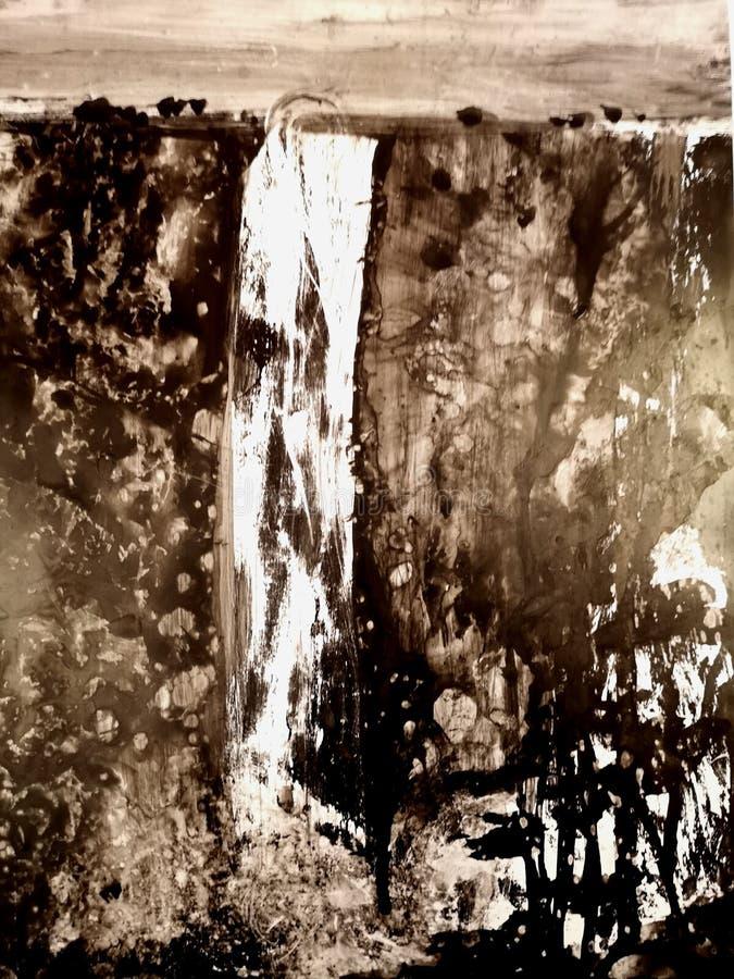 瀑布风景的中国或日本墨水绘画 库存例证