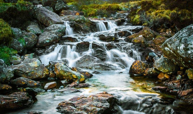 瀑布, Arrochar阿尔卑斯,苏格兰 库存照片