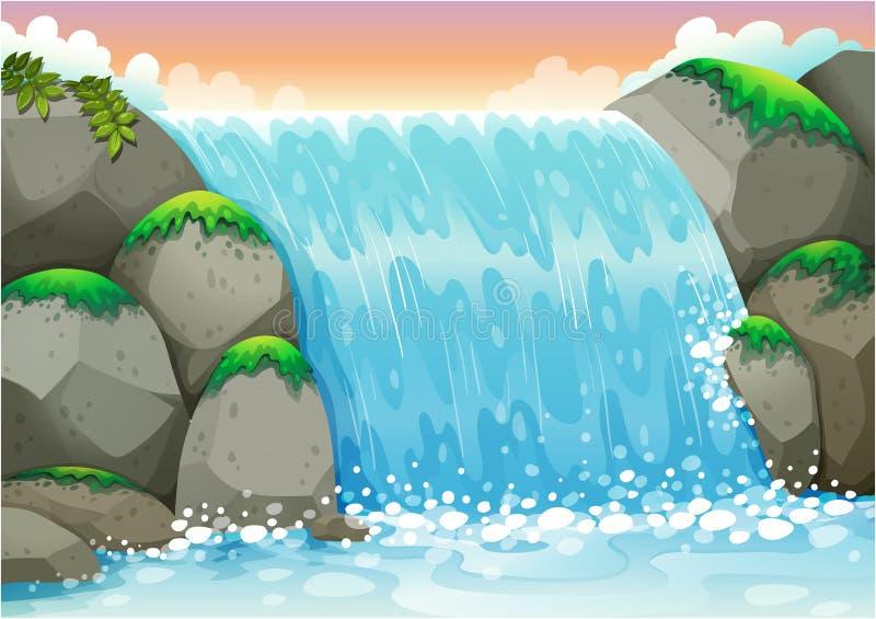 瀑布 向量例证