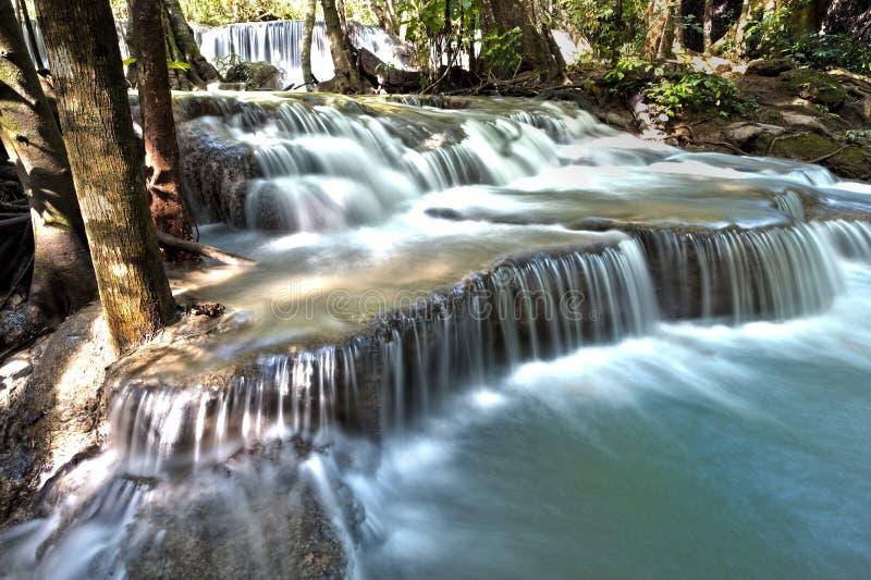 瀑布huay mae khamin在泰国 库存照片