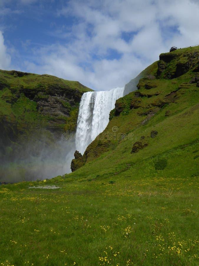 瀑布Skogafoss冰岛 免版税库存图片