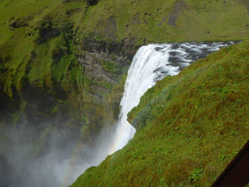 瀑布Skogafoss冰岛 免版税库存照片