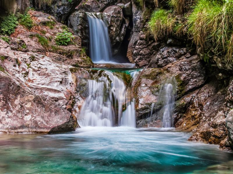 瀑布Val韦尔托瓦 库存图片