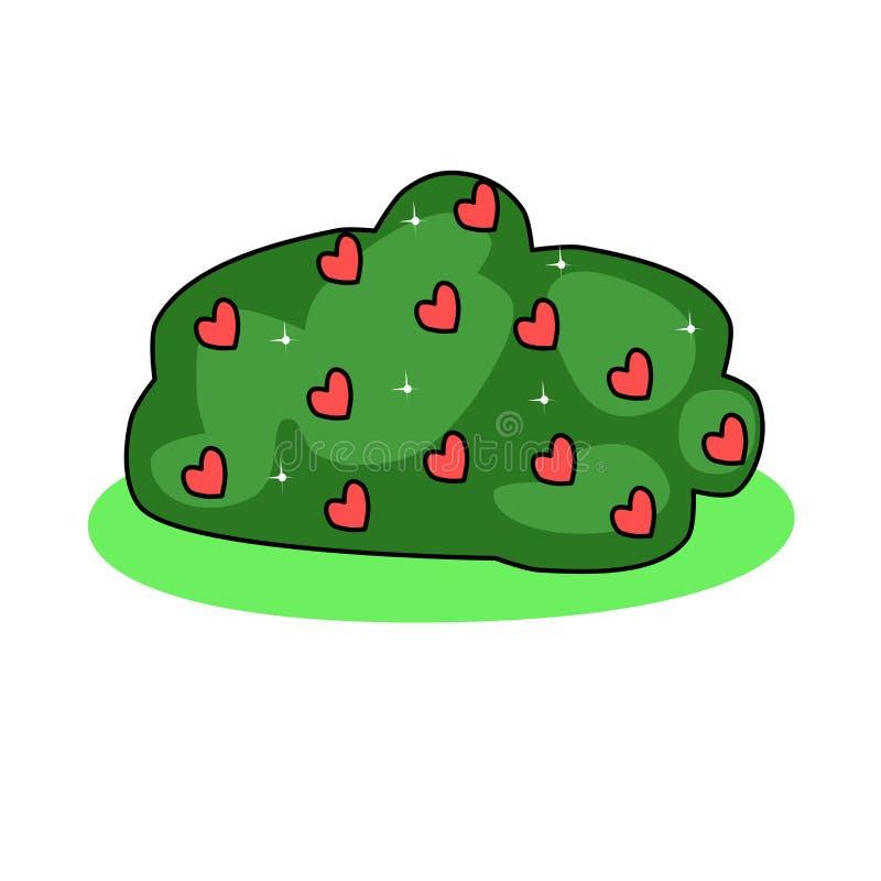灌木的例证与红心和星的 增长的爱 抽象植物 r 皇族释放例证