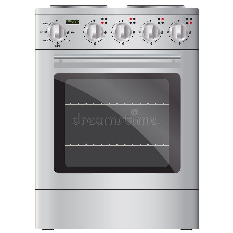 灌肠器 现代电火炉和烤箱,银 库存例证