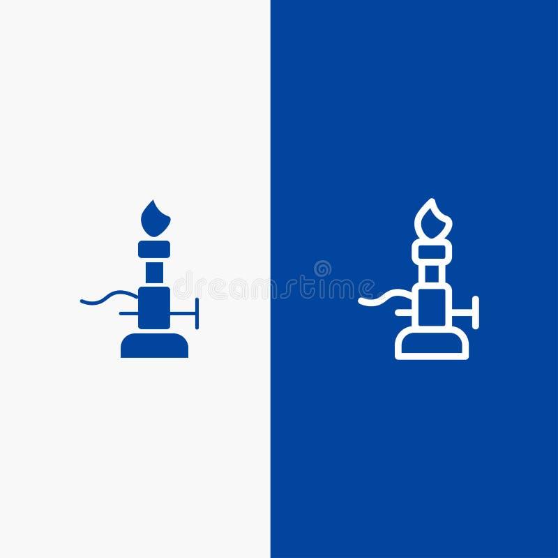 火、实验室、光、科学、火炬线和纵的沟纹坚实象蓝色旗和纵的沟纹坚实象蓝色横幅 向量例证