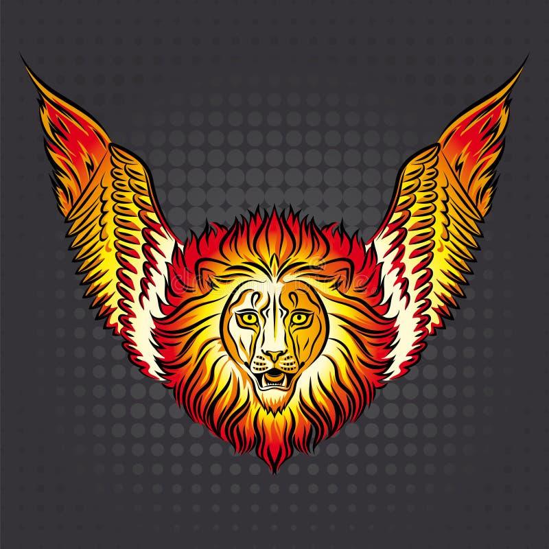 火与翼的狮子商标的图象 库存例证