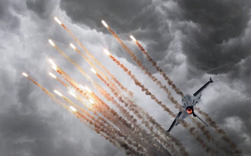 火光军事喷气机生火  库存照片