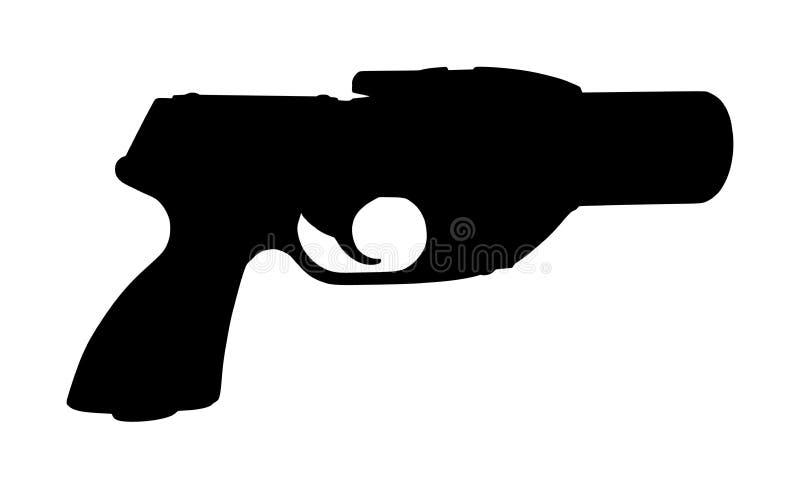 火光枪剪影隔绝了 生存迷路者人的信号手枪 抢救帮助的SOS机敏的武器 库存例证