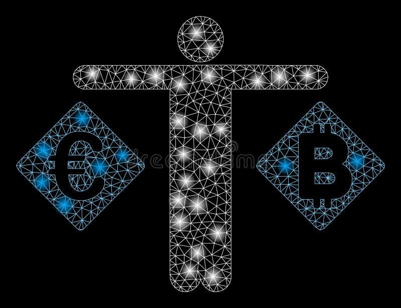 火光滤网导线框架人欧元和Bitcoin与火光斑点比较 向量例证