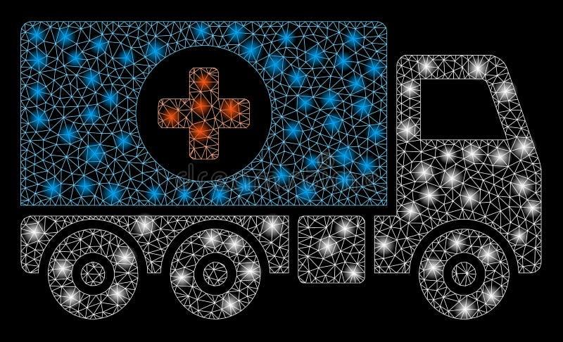 火光滤网导线框架药房有火光斑点的送货车 皇族释放例证