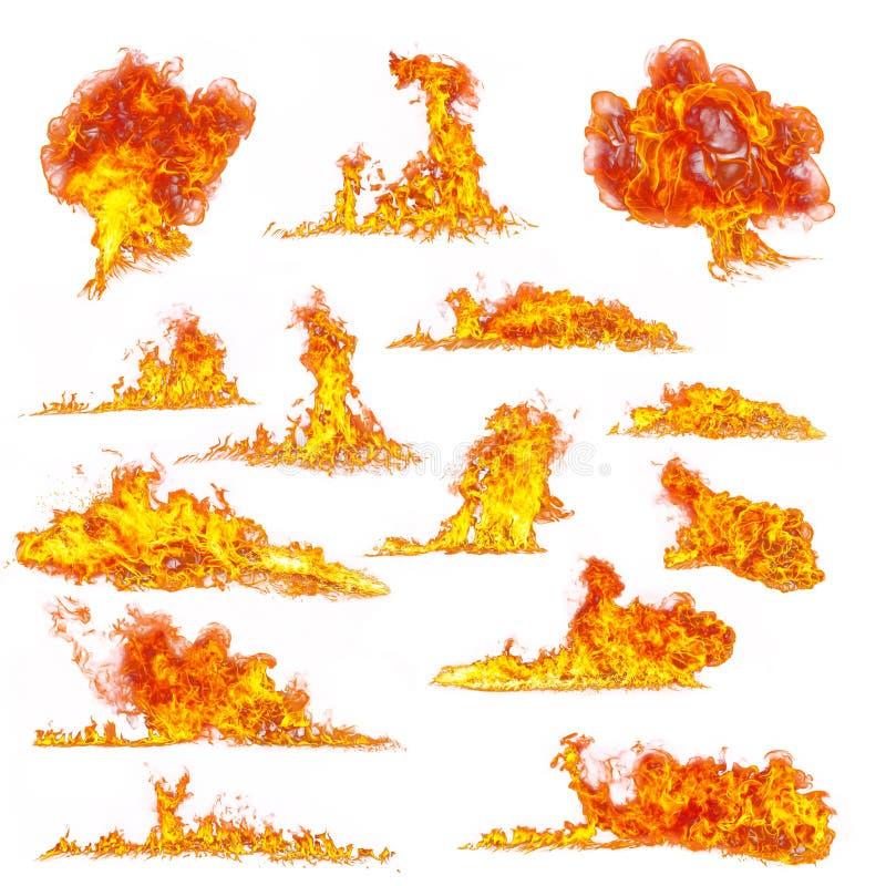 火发火焰在白色背景的汇集 图库摄影